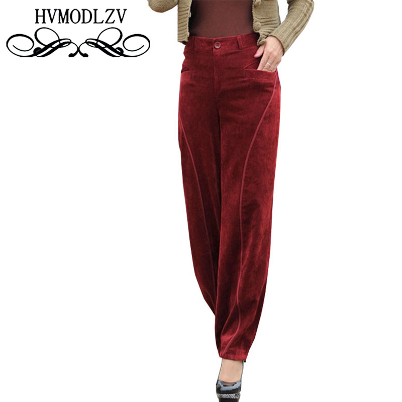 Plus size Corduroy   Wide     Leg     Pants   2017 Women Autumn Cashmere Trousers High Waist Loose Nine points Lantern Trousers Female Ls823