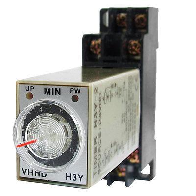 DC24V/DC12V/AC110V/AC220V  0-10 Minute 10m Timer Power On Delay Time Relay 8 Pin H3Y-2 w Socket knob control dc24v dc12v ac110v ac220v 8p dpdt 5s seconds timer time delay relay w socket h3y 2