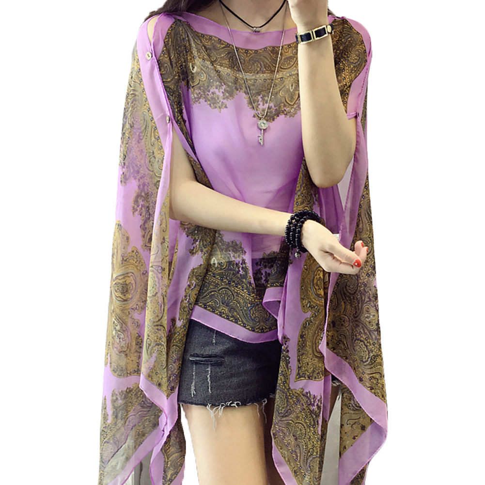 Summer Woman Scarf Thin 10-color   Blouses     Shirts   Plus Size Long Sleeve Chiffon Shawl Sunscreen Cover Ups Sun Protection Shawl