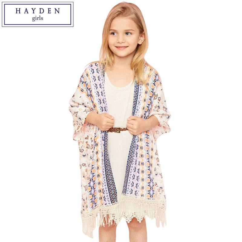 HAYDEN Girls Blouses for Teenagers Clothes Brands Open Front Tribal Print Tassel Trim Vintage Kimono Kids Shirt Summer Fall 2017 plus open front tassel trim kimono