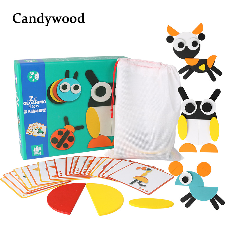 Kids Wooden Puzzle Games Montessori Cartoon Funny Jigsaw Puzzle Educational Toys For Children Learning Developing Toys For Boys