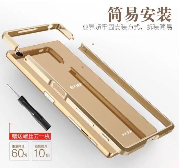 imágenes para Lujo Exquisito Corte De Aluminio de Parachoques del Metal Para Sony Xperia Z5 Premium Original de la Marca Caja Del Teléfono Celular Accesorios de Parachoques