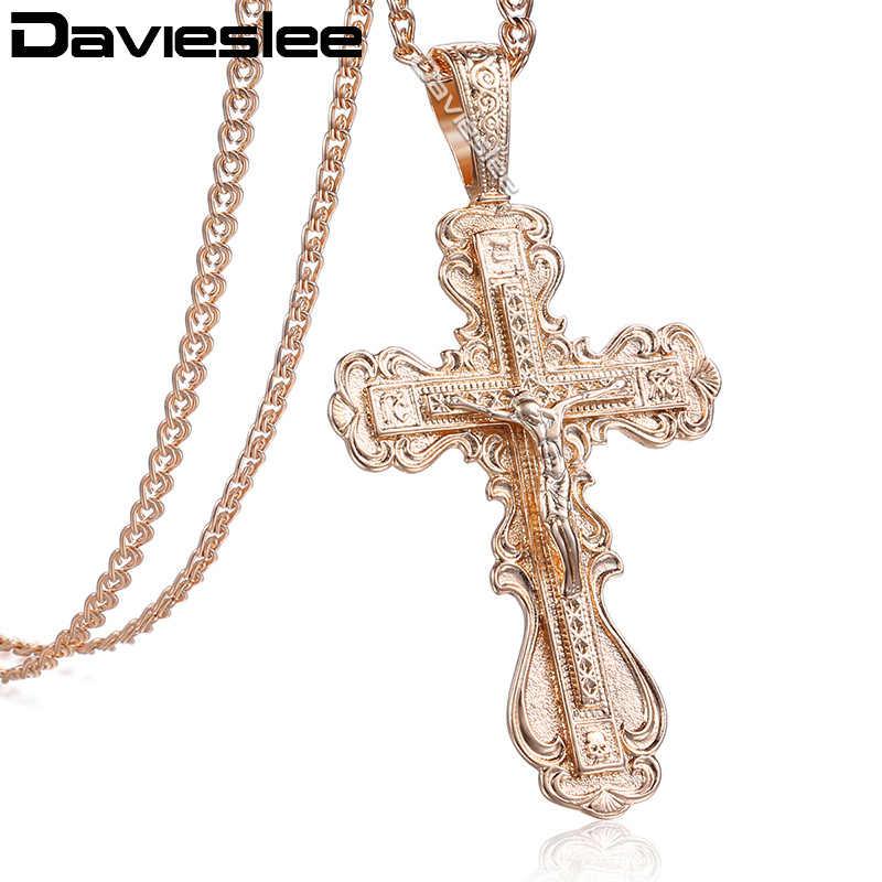 Davieslee dos homens das mulheres colar de corrente crucifixo cruz pingente 585 rosa ouro cheio cobra link lgp172