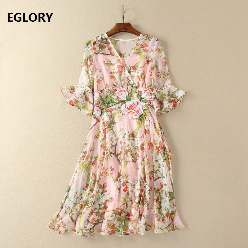 Pearl Beaded Flower Embroidery Dress 2018 Spring Party Fashion Dresses Women Flare Sleeve A-Line Maxi Dress Floral Print Dress