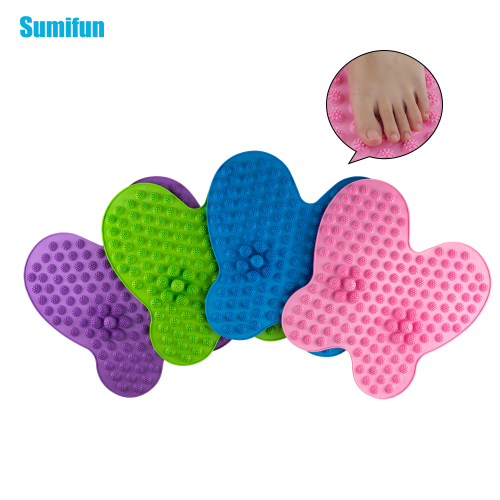Sumifun Buttefly Shape Washable Foot Pain Relief Massage Reflexology Mat Toe Pressure Plate Blood Circulation Shiatsu Health 1pair free size toe straightener big toe spreader correction of hallux valgus pro toe corrector orthopedic foot pain relief