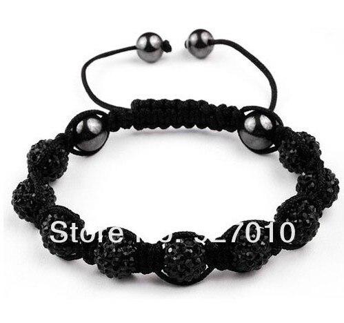 Shamballa jewelry women Bracelets Micro Pave CZ Disco 10mm Ball Bead Shamballa Bracelet black