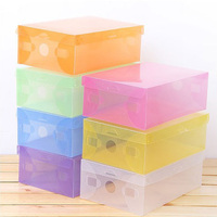 New 10pcs Lot Multicoloured Opened Rectangle Storage Box Stackable Crystal Clear Plastic Shoe Piggy Bank