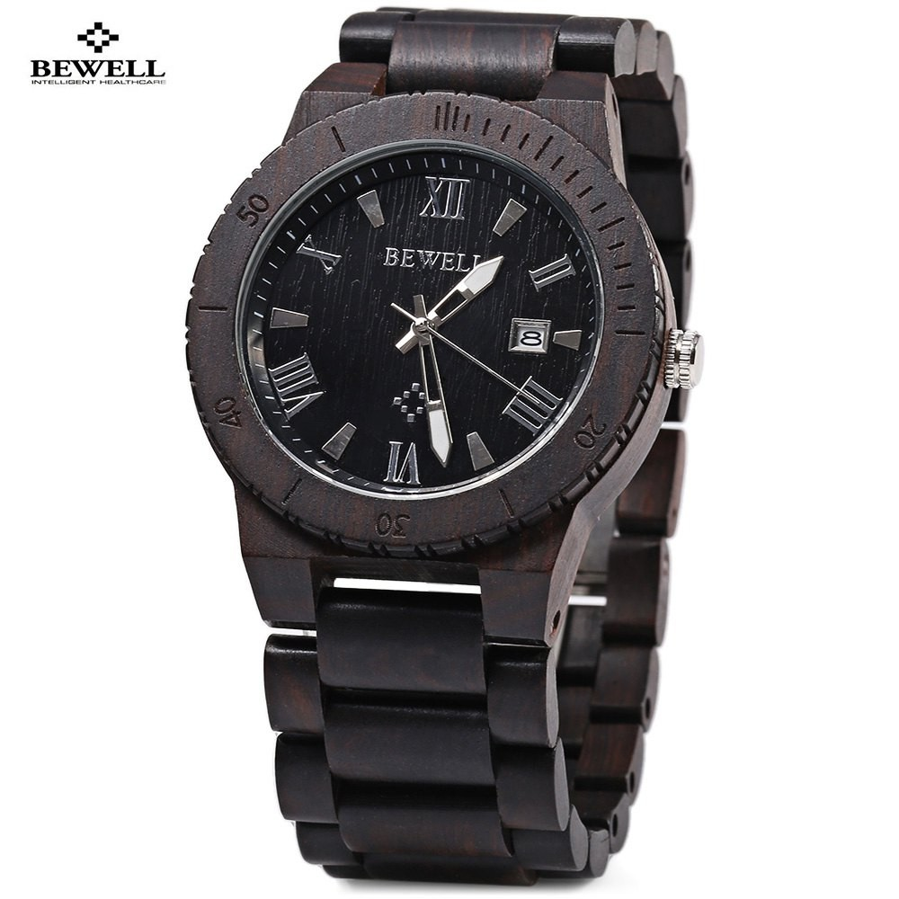 Bewell Elegant Waterproof Wood Watch Men Fashion Quartz Watches, Luminous Pointer Calendar Wooden Wristwatch relogio masculino biostal ng 600 1
