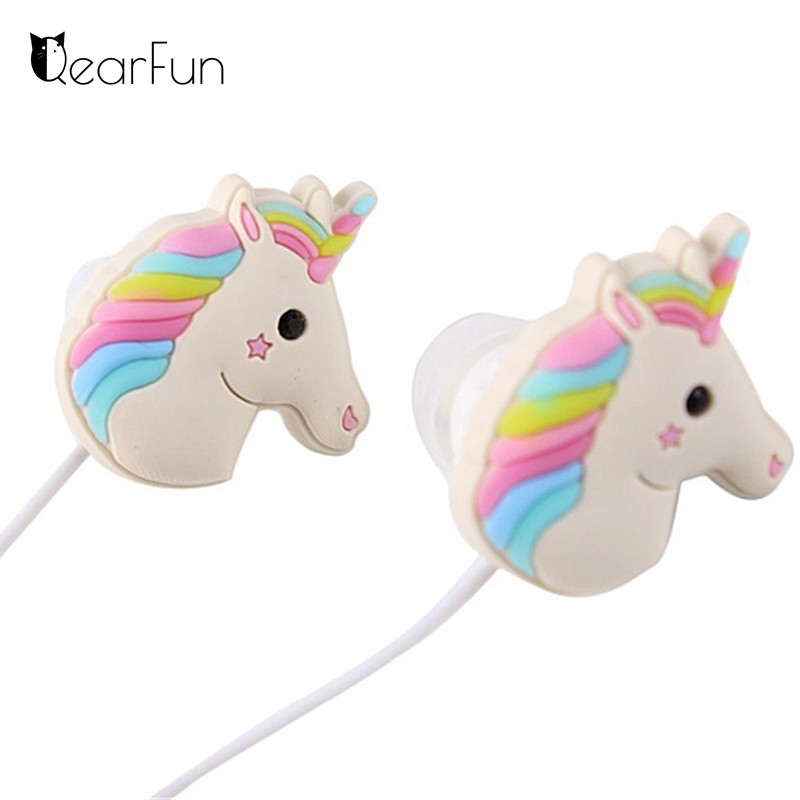 цены Cute Unicorns Cartoon Earphones Colorful Rainbow Horse In-ear Earphone 3.5mm Earbuds With Mic For Xiaomi Smartphone Kids Gifts