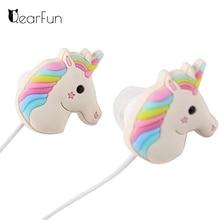 Cute Unicorns Cartoon Earphones Colorful Rainbow Horse In ear Earphone 3 5mm Earbuds With Mic For