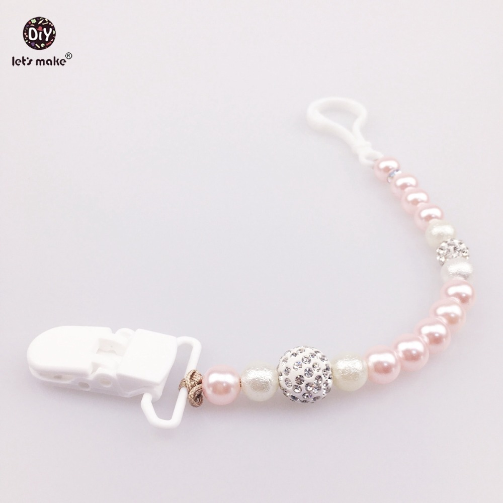 Let's Make Infant Pearl Necklace Pendantanic Teether Pearl Charms  Universal Pacifier Clip 5pc Diy Safe