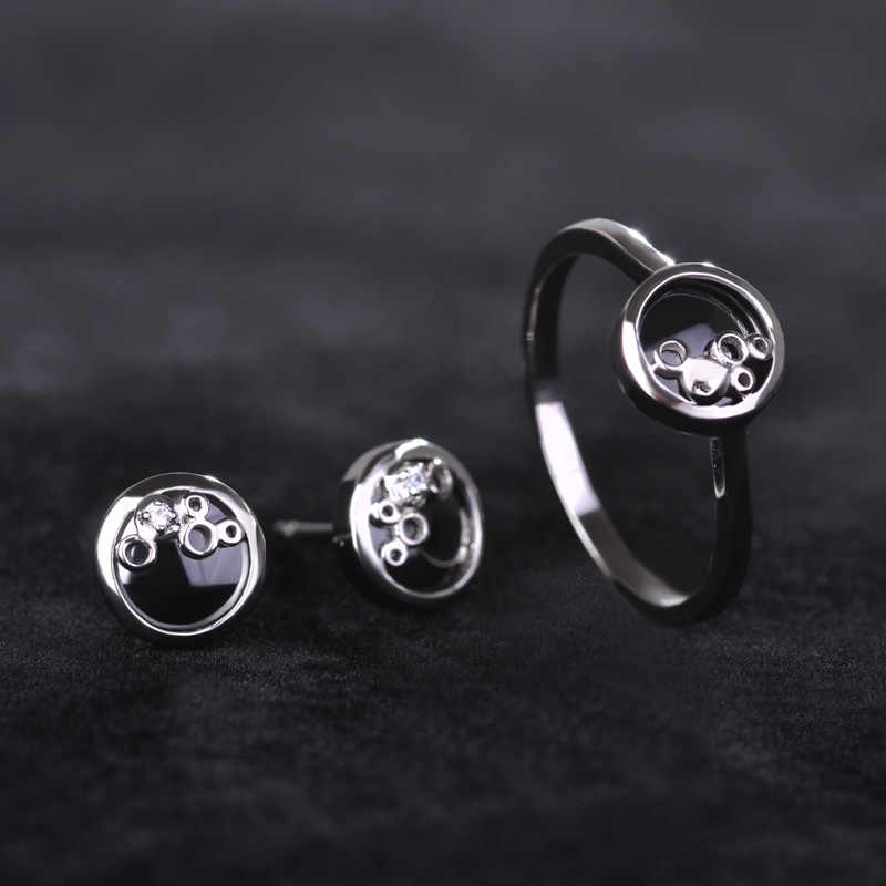 Ceramic Black Ring And Earring Sets Copper Rhodium Color Anels With Cubic Zircon Rhinestone Stud Brincos For Women Chic Jewelry