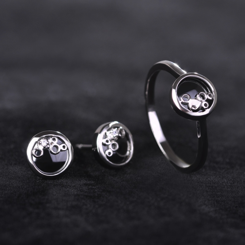 Ceramic Black Ring And Earring Sets Copper Rhodium Color Anels With Cubic Zircon Rhinestone Stud Brincos For Women Chic Jewelry кастрюля с крышкой metrot оливки