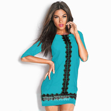 2017 Spring Summer Fashion Lace Stitching Loose Straight Woman Dress O-neck Half-sleeves Casual Dresses Female Work Wear Vestido
