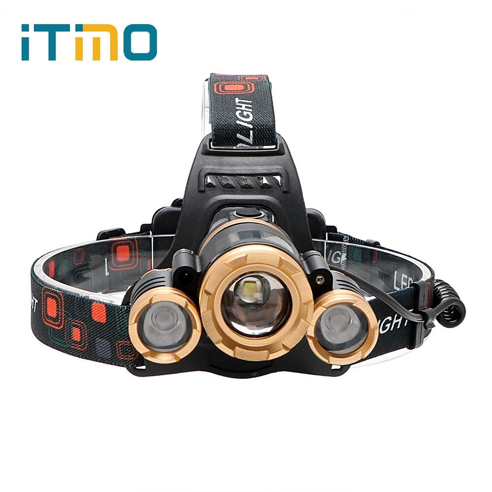 ITimo 3LED zoom head light Outdoor Travel Fishing Equipment LED Lamp Headlamps Emergency Light