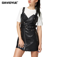 2018 Vintage Belt Black PU Leather Dress Women Zipper V Neck Sexy Dress 2017 Backless Off