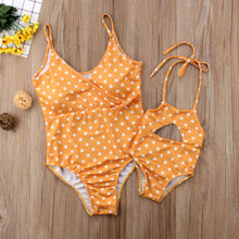 Family Matching Mother Daughter Polka Dot Yellow Bathing Suit