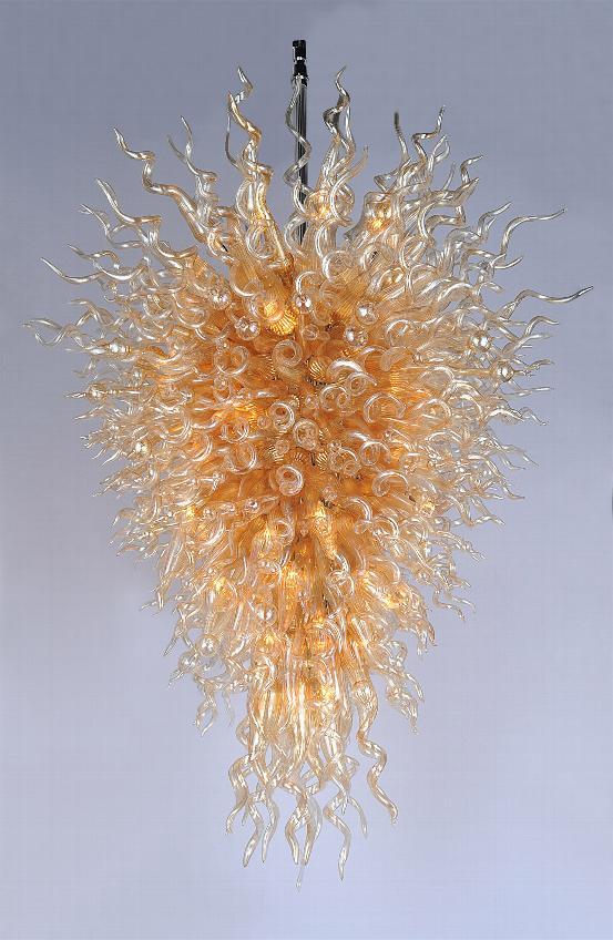 Lustre en cristal de LED en verre soufflé fait main de luxe moderne