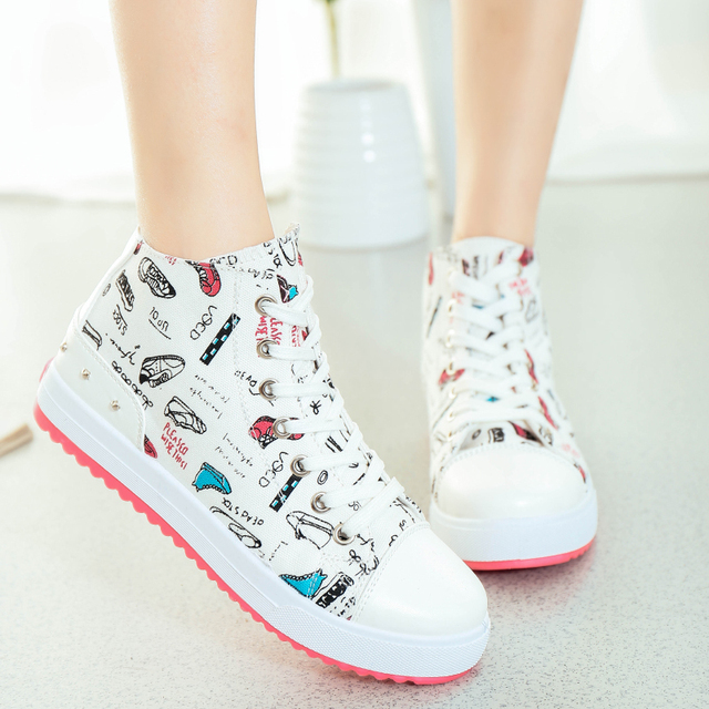 3ce118d5814e3 NEW fashion sports sneakers women sport shoes high top canvas sneaker cute  print ladies running shoes solid color female shoes