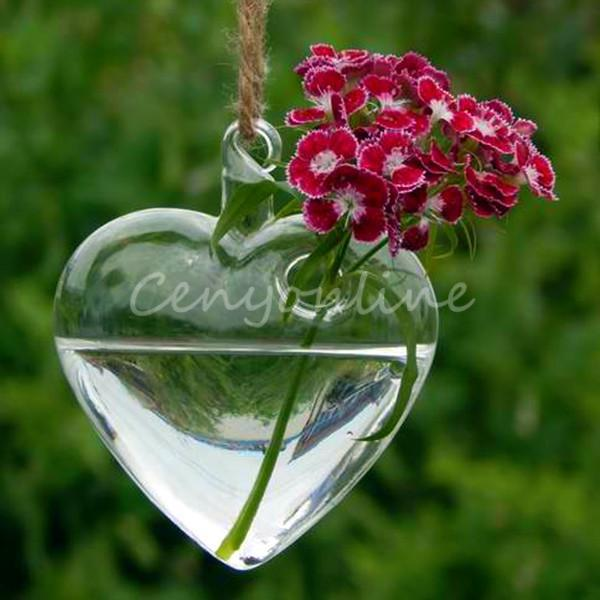 New Stylish Simple Hanging Glass Heart Plants Flower Vase Hydroponic  Container Party Wedding Garden Decoration Gift