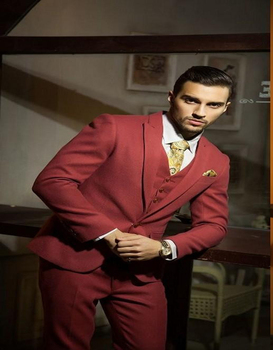 Tailor Made Suit High Quality Three Pieces Suits Closure Collar Three Pockets Performance Party Prom Costume(jacket+pants+vest)