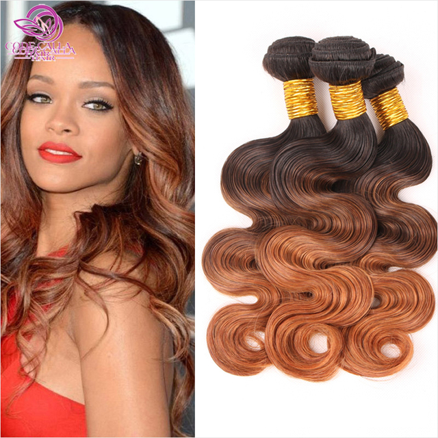 Hot sale 6a Ombre Brazilian Hair Brazilian Body Wave 1b/4/30 Ombre Human Hair Extensions 3 Bundles 3 Tone Color WOB101