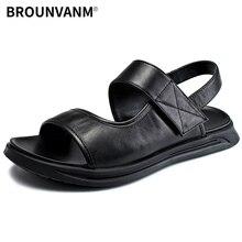 купить Roman mens sandals youth trend new Genuine leather summer outdoor Men Slippers Flip Flops casual Shoes beach outdoor anti-skid дешево