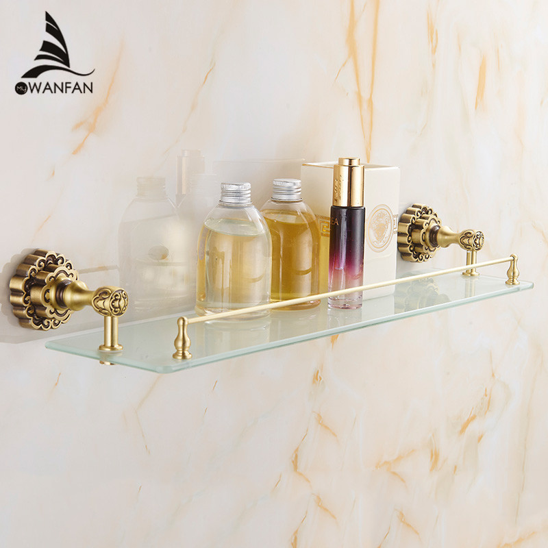 Bathroom Shelves Antique Brass 1 Tier Glass Shelf Cosmetic Storage Shower Holder Wall Mounted Luxury Accessories WC Rack 10713F black bathroom shelves stainless steel 2 tier square shelf shower caddy storage shampoo basket kitchen corner shampoo holder