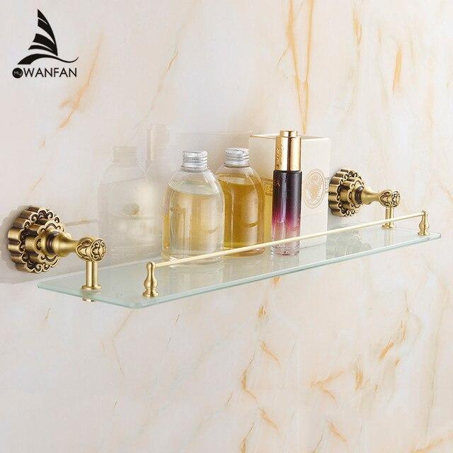 luxury carving antique single tier bathroom glass shelf wall mounted bathroom cosmetic storage rack bathroom accessories