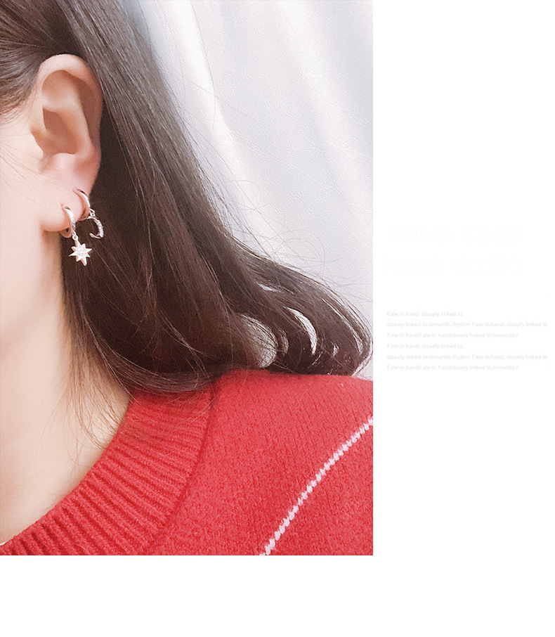 HTB1SAd6UQvoK1RjSZFDq6xY3pXai - New Arrival Fashion Classic Geometric Women Dangle Earrings Asymmetric Earrings Of Star And Moon Female Korean Jewelry