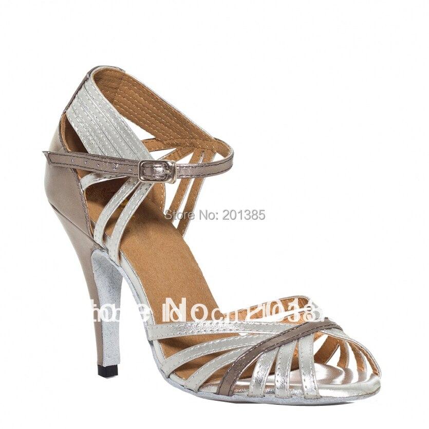 Ladies Silver Leather Suede Sole Kasut Tarian LATIN Kasut Salsa Kasut Jazz Baru Kasut Tango Saiz 35,36,37,38,39,40,41
