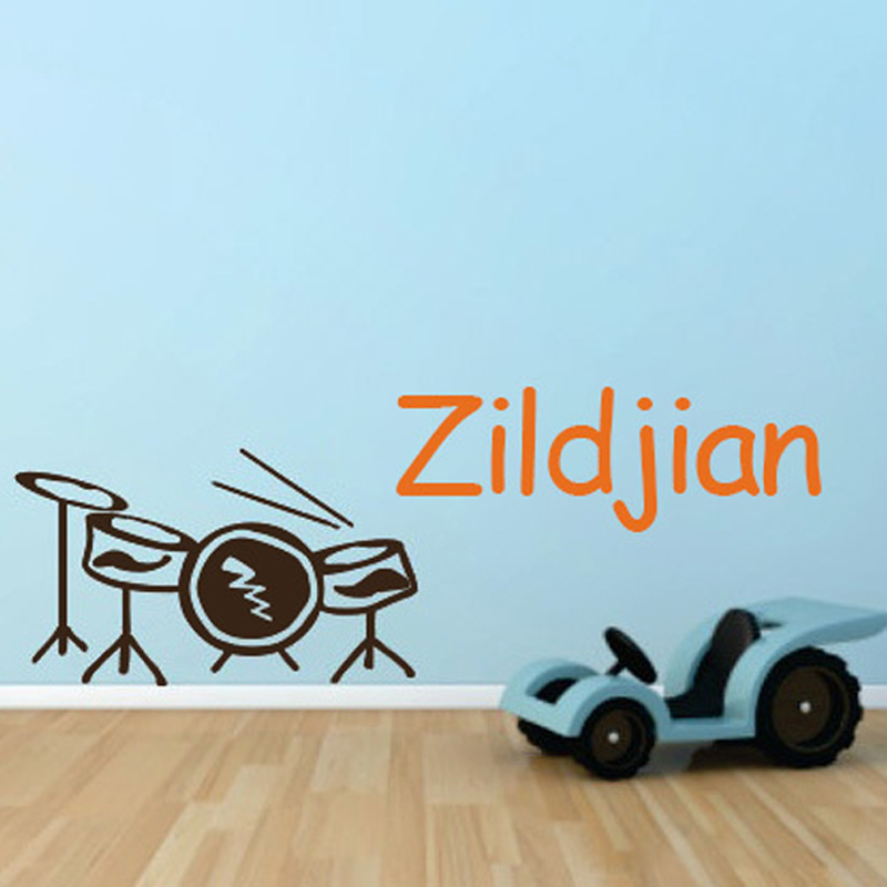 Wall Decal Cool Drums Personalized Customized Name Kids Baby Boy Room Children Vinyl Sticker Mural Wallpaper 60x100cm Home Decor