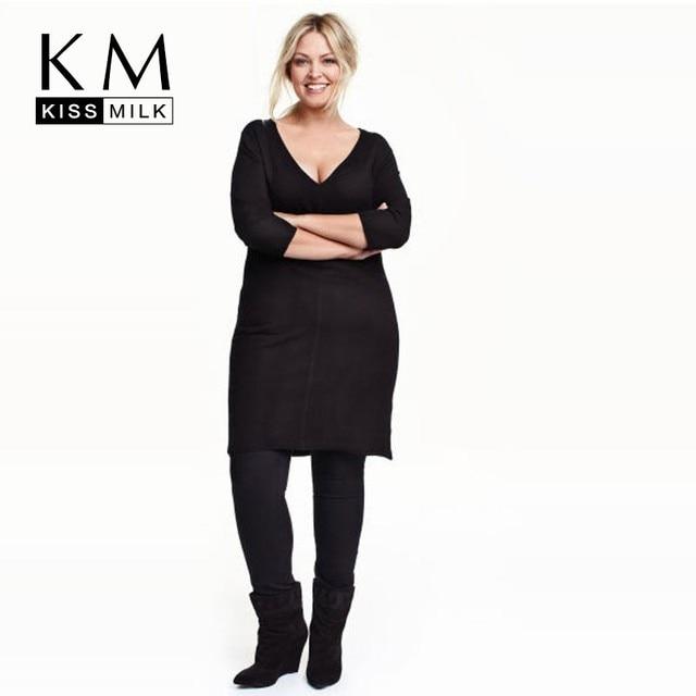 Kissmilk 2016 Плюс Размер Лето Женщины Новый Краткое Глубокий V-образным Вырезом Высокой талия Свободные Тонкий Платье Большой Большой Размер 3XL 4XL 5XL 6XL