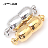 White Rhodium And Gold Plated 7x20mm 925 Sterling Silver Magnetic Clasps For Cord Ends Rope Necklace And Bracelets SC MC007