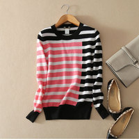 100 Cashmere Winter Autumn Spring Sweater Contract Color Striped Patchwork Pullovers Sweater Women S Knitting Clothing