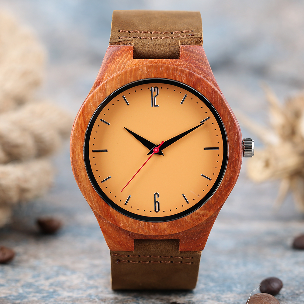 High Quality Red Sandalwood Quartz Wristwatch Novel Yellow Analog Dial Wood Watch with Genuine Leather Strap for Men Women Gifts