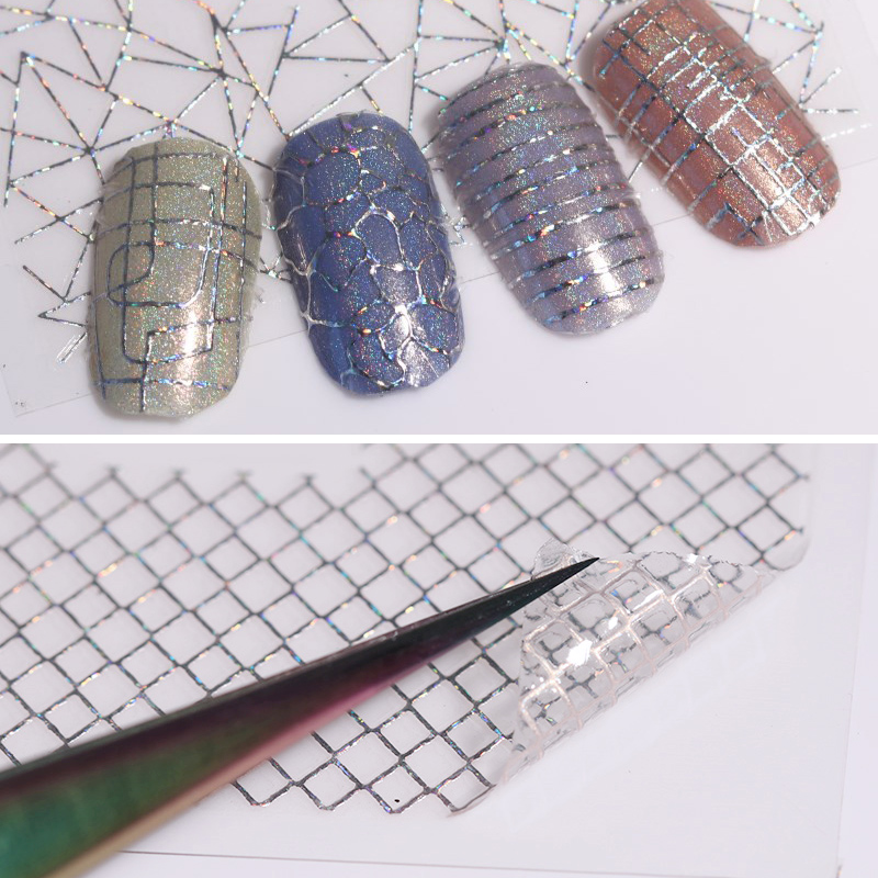 12 Patterns Big Sheet Holo 3D Laser Nail Sticker Adhesive Gold Silver Aurora Line  Nail Art Decal DIY Tool 1pc 2d nail glitter laser line pendant diy sticker tl211 nail art decoration sticker adhesive decal nail art tip women manicures