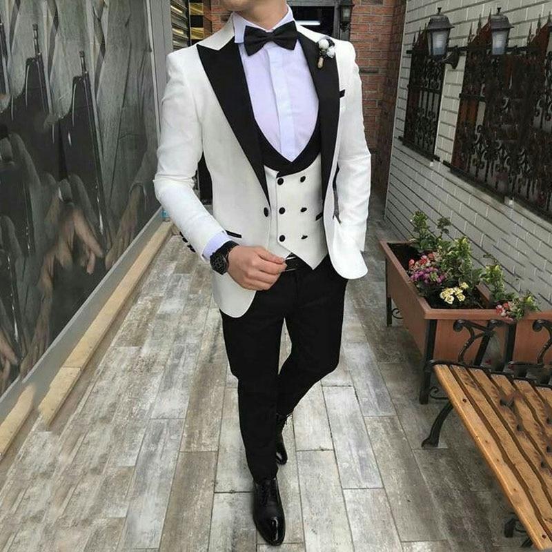 Ivory Men Suits 2019 Beach Wedding Groom Wear Tuxedos 3 Pieces(Jacket+Pants+Vest) Slim Fit Bridegroom Suits Costume Homme
