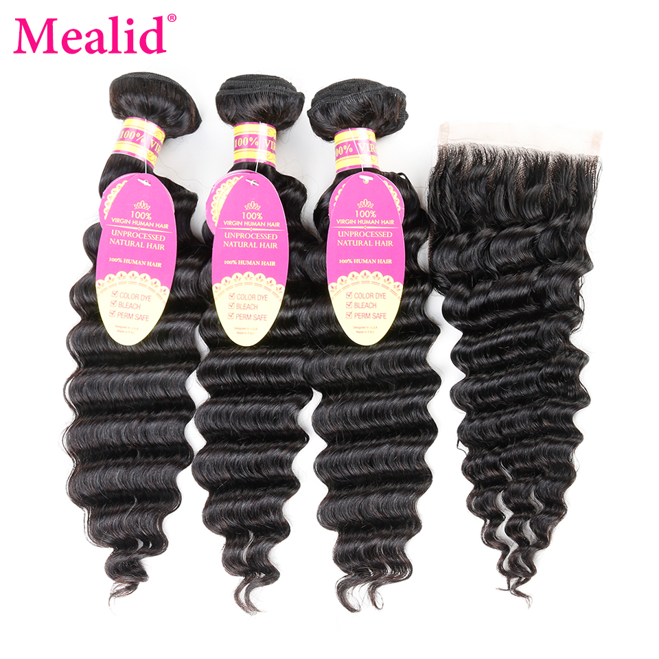 Mealid Deep Wave Bundles With Lace Closure Brazilian Hair Non-Remy 8-30 Inch Bundles With Closure Human Hair Extensions