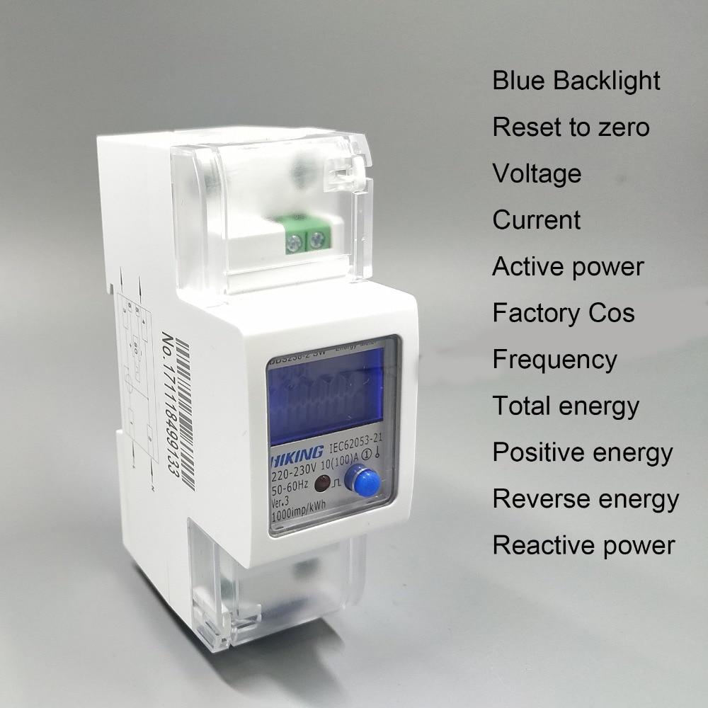 65A 100A 220 v 60 hz 50 hz tensione corrente Positiva inversione di potenza di reset a zero monofase su guida Din contatore di energia KWH Watt ora