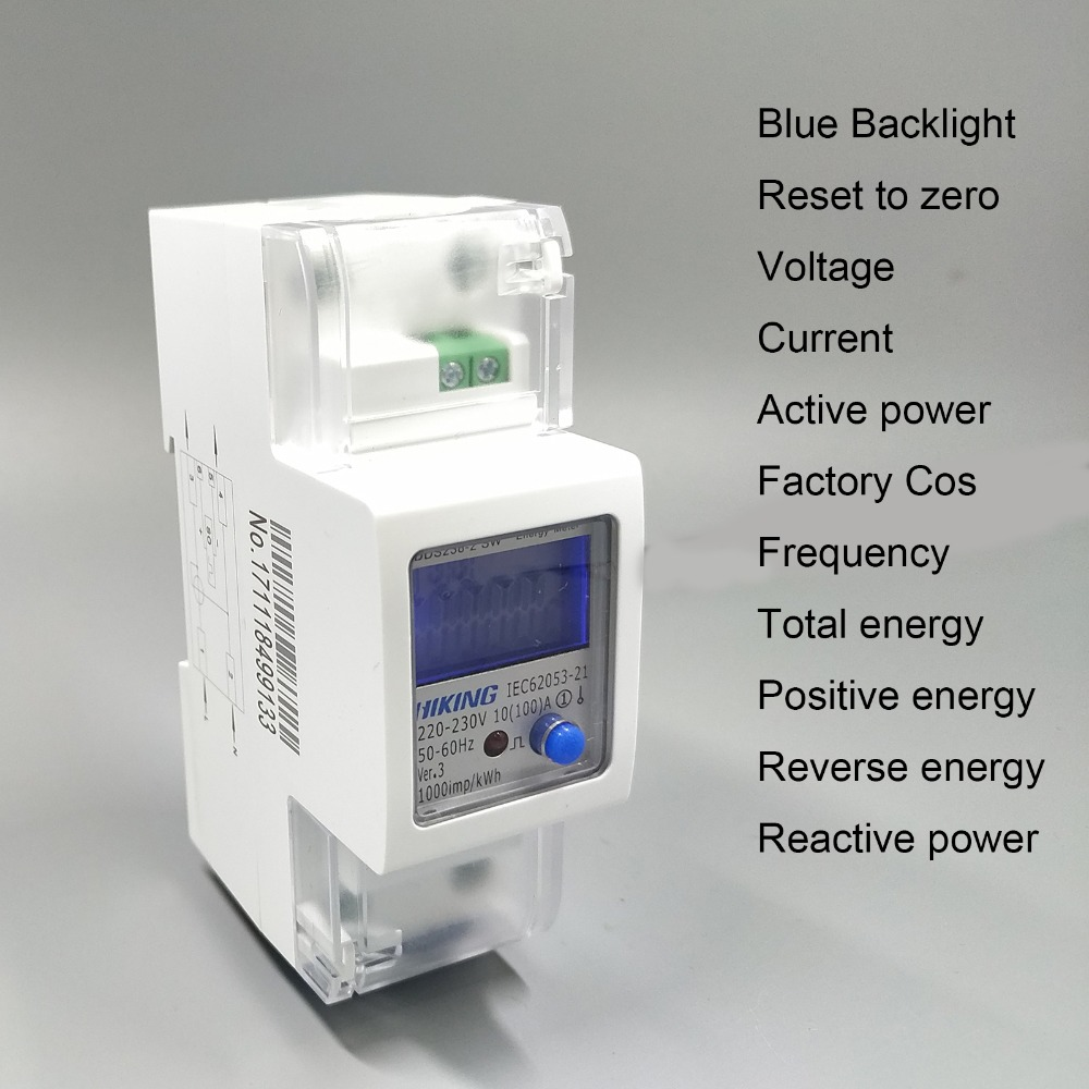 65A 100A 220V 60Hz 50Hz voltage current Positive reverse power reset to zero Single phase Din rail KWH Watt hour energy meter 5 65 a 230v 50hz display voltage current positive reverse active reactive power single phase din rail kwh watt hour energy meter