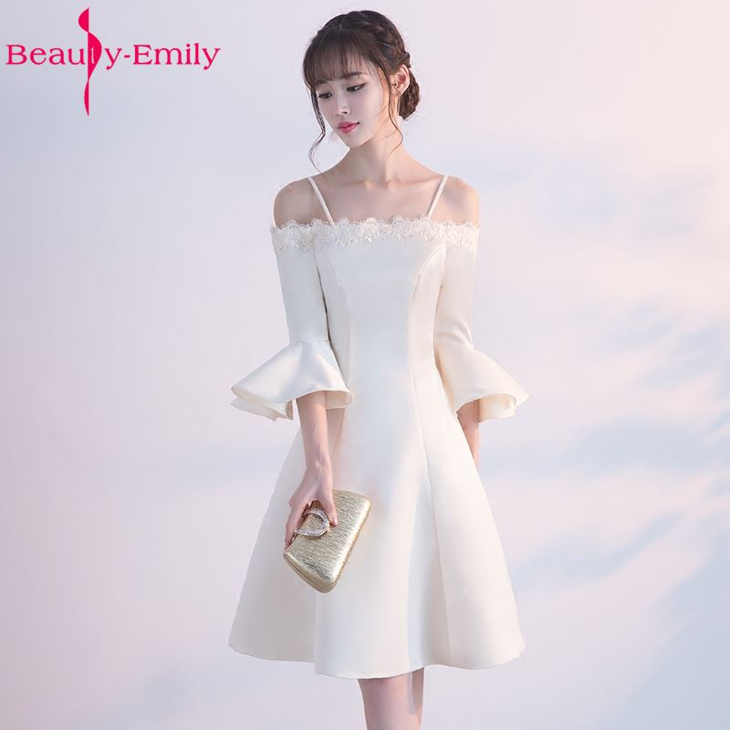 Beauty-Emily Champange Short Stain Bridesmaid Dresses 2017 Party Prom Homecoming Dresses A-line Boat Neck Three Quarter