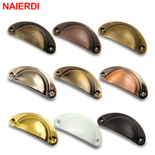 NED 20PCS Retro Metal Kitchen Drawer Cabinet Door Handle And Furniture Knobs Handware Cupboard Antique Brass Shell Pull Handles недорого