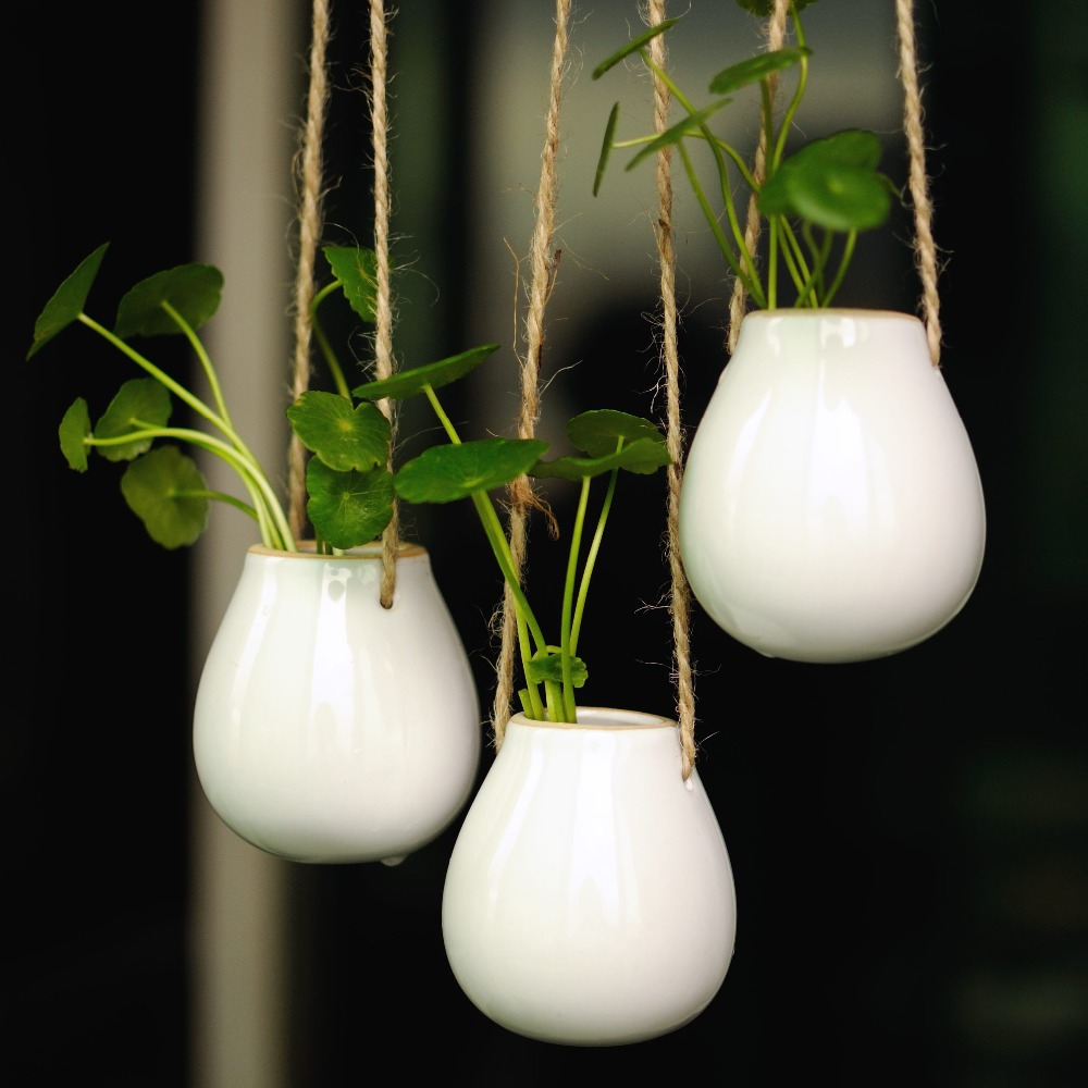 High Quality White Egg Shape Ceramic Bucket Hanging Planter Container Succulent