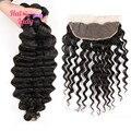 7A Halo Lady Hair Loose Deep Wave Virgin Hair 2 or 3 or 4Pcs Indian Hair with Loose Deep Wave Frontal Closure 13x4 Pre-Plucked