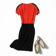 Veydu/элегантное женское летнее платье с круглым вырезом и короткими рукавами, с заклепками на плечах, из лоскутного шифона, с баской, вязаные Вечерние Повседневные платья для работы