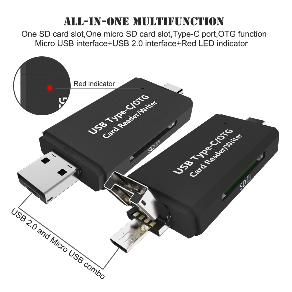 Type-c /& USB /& Micro USB 3 in 1 SDXC SDHC Extension Headers TF//SD Card OTG//USB Card Readers Mobile Phone High-Speed Android for PC Laptop Computer