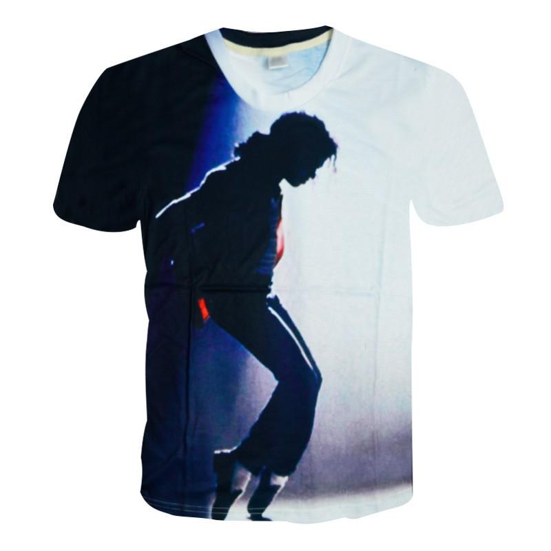 ebecf5f98a9 US $17.79 11% OFF|Rare MJ Michael Jackson Cool Punk Moonwalk Printing  Pattern In Memory Tshirt Tee Causal Short Sleeve Cotton Cotton 100%-in  T-Shirts ...