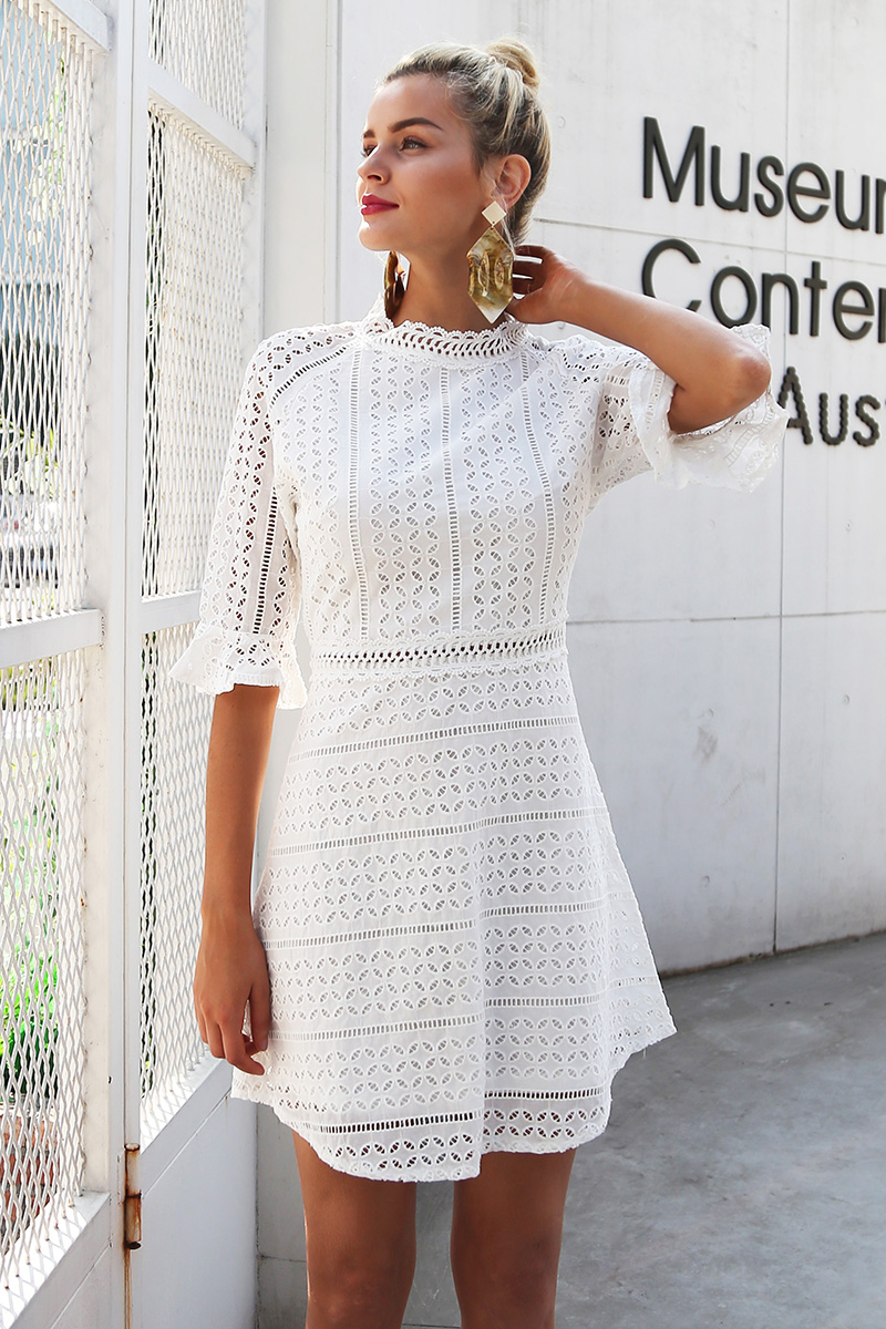 Vintage Hollow Out Lace White Dress