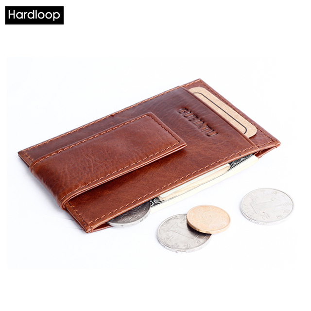 Hardloop Slim Money Clip Wallet Genuine Leather Small Card Holder Money Case Mini Moneyclip Men Wallet Brand Quality Luxury
